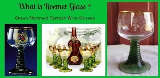green stemmed german wine glasses