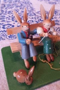 german wooden easter bunnies