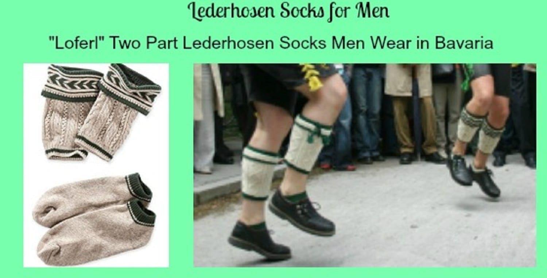 """03984afd8 """"Loferl"""" Two Part Lederhosen Socks Men Wear in Bavaria"""