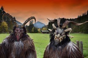 Alpine traditional Krampus masks