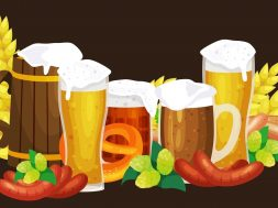 Beer festival Oktoberfest celebrations retro style labels, badges and logos set with beer mug on background Vector illustration.