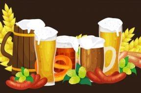 Beer festival Oktoberfest celebrations retro style labels, badges and logos set with beer mug on background Vector illustration.