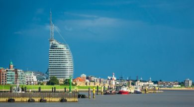 View to the city Bremerhaven in Germany