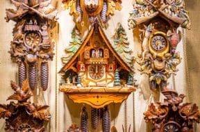 Old Vintage Wooden Cuckoo Clocks in the Christmas Shop, Berlin,