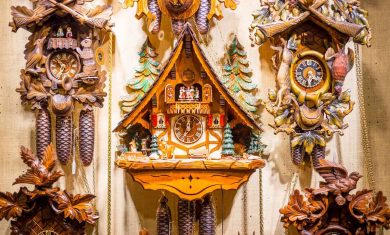Old Vintage Wooden Cuckoo Clocks in the Christmas Shop, Berlin,