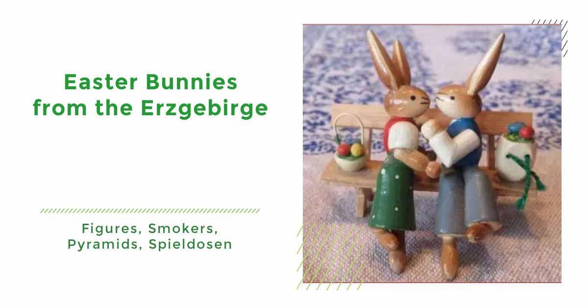 German Wooden Easter Bunnies from the Erzgebirge
