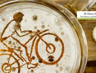 a cyclist in beer foam